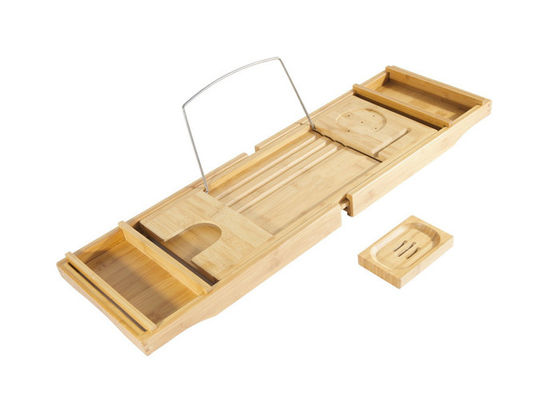 Good Quality Bamboo Kitchen Supplies &  Bamboo Bathroom suppliers Bathtub Caddy with Extending Sides and Adjustable Book Holder on sale
