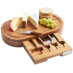 Good Quality Bamboo Kitchen Supplies & Outdoor Indoor Bamboo Cheese Board Cutlery Knife Set With Laser Or Burned Logo on sale