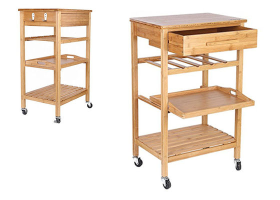 Good Quality Bamboo Kitchen Supplies & Hot Sale High Quality Decor 4-Tier Bamboo Home Furniture Kitchen Trolley on sale