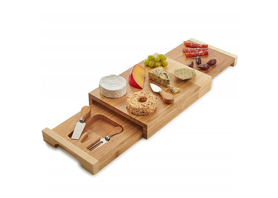 Good Quality Bamboo Kitchen Supplies & Non Toxic Bamboo Cheese Board Set Cutlery Set With With Drawer And Platter on sale