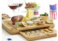 Bamboo Wooden Cheese Board With 6 Stainless Steel Cheese Knives & 6 Appetizer Forks