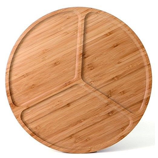 Astounding 5 Divided Bamboo Round Food Serving Tray Machost Co Dining Chair Design Ideas Machostcouk