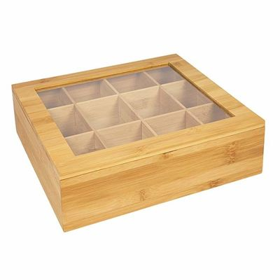 12 Compartment Bamboo Tea Bag Box , Wooden Tea Chest For Home / Office