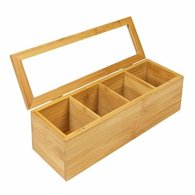 Adjustable Popular Wooden Tea Bag Box 4 Compartment Rectangle Shaped