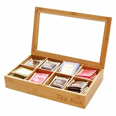 Multifunction Bamboo Storage Box , Wooden Tea Bag Organizer 8 Compartments