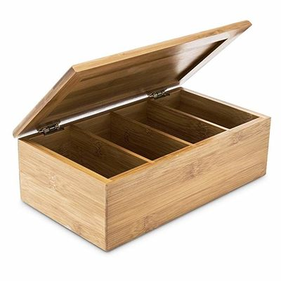 Home Decoration Bamboo Storage Box Wooden Jewellery Box With 4 Compartments