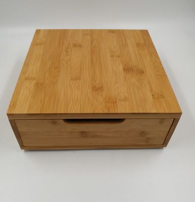 Eco Friendly Bamboo Storage Box Wooden Coffee Box 30x30x10cm Delicate Appearance