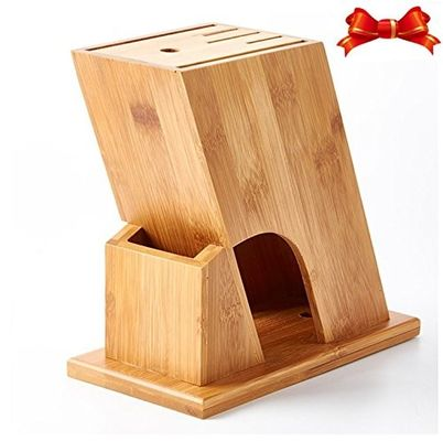 Multipurpose Bamboo Knife Storage Block , Wooden Knife Holder Phthalate Free
