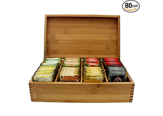 Natural Bamboo Storage Organizer Box , Wooden Tea Bag Holder Easy Cleaning