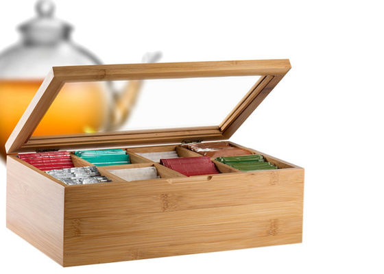 Multifunction Bamboo Tea Storage Box 8 Adjustable Chest Compartments