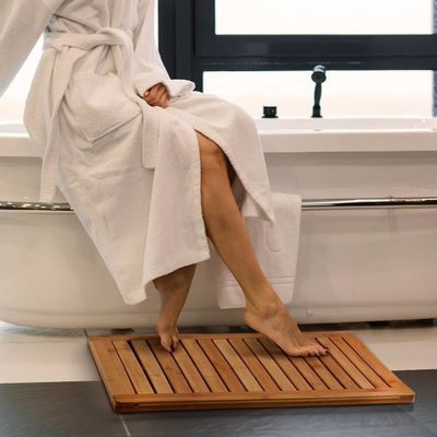 Bamboo Bathroom Supplies Bamboo Shower Floor Mat Non Slip 23.7 X 16 X 1 Inches