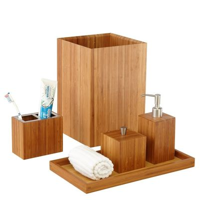 Customized Bamboo Bathroom Supplies 5 Piece Bamboo Bath And Vanity Box Antibacterial
