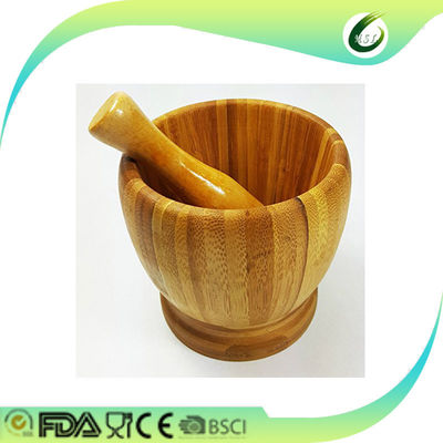Large Wooden Mortar And Pestle , Reusable 100% Bamboo Wooden Garlic Press